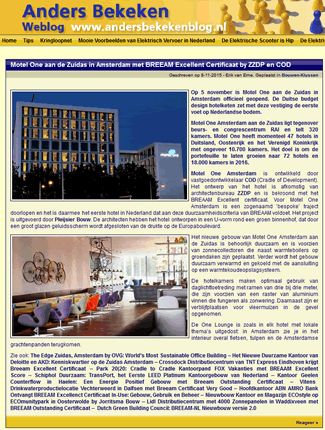 Motel One met BREEAM Excellent Certificaat by ZZDP en COD